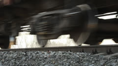 The wheels on the railway track. The railway, the movement of freight trains Stock Footage