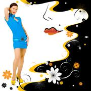 Fashion girl with an illustrated background Stock Illustration