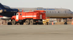 Fire engine in Ufa airport Stock Footage