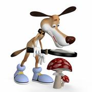 Illustration. the dog examines a mushroom. Stock Illustration