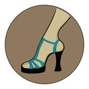 blue sandals with heels - stock illustration