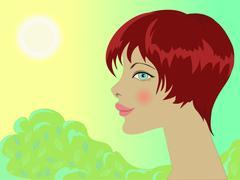 Smiling girl in nature Stock Illustration