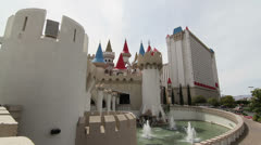 Outside View of Excalibur Hotel and Casino, Las Vegas Stock Footage