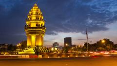 SUNSET TIMELAPSE OF INDEPENDENCE MONUMENT IN PHNOM PENH CAMBODIA - stock footage