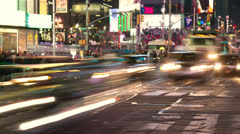 Crowd of people walking at night in New York City time-lapse Stock Footage