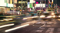 New York Times Square traffic crowd people time-lapse Stock Footage