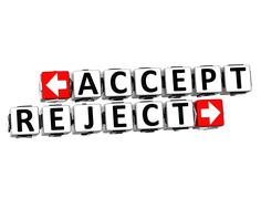 3d accept reject button click here block text - stock illustration