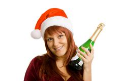 girl in christmas hats - stock photo
