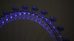 London Eye detail at night with blue light - stock footage