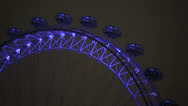 London Eye detail at night with blue light Stock Footage