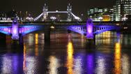 London bridge at night with Tower Bridge Stock Footage