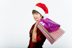 Blue-eyed girl with a new year shopping Stock Photos