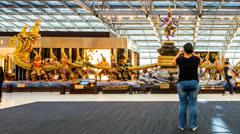 People in Bangkok Suvarnabhumi Airport - Time Lapse Stock Footage