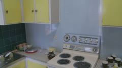 1970's kitchen - dolly 5 - property release - slow mo Stock Footage