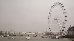 London Eye with boats - stock footage