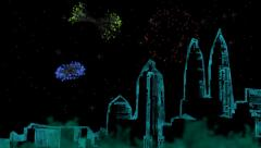 City Skyline Fireworks Display - stock footage