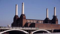 London Battersea Power Station Trains crossing Bridge Stock Footage