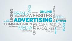 Advertising Word Cloud Animation Stock Footage