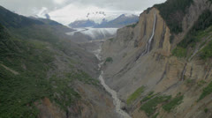 Majestic Waterfall In Glacial Valley Stock Footage