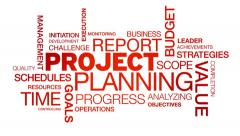 Project Planning Word Cloud Animation Stock Footage
