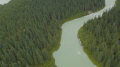 Flying Down Glacier River Stock Footage