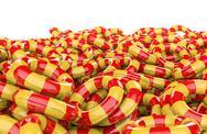 Kids inflatable rings pile Stock Illustration