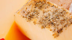 Aged cheeses on dish Stock Footage