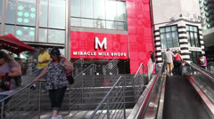 Entrance to Miracle Mile Shops at Planet Hollywood Las Vegas Stock Footage