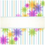 stripe floral background with copy space - stock illustration