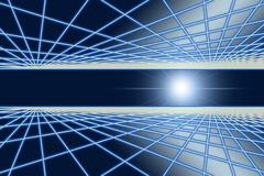 Grid glow in space of blink light. Stock Illustration