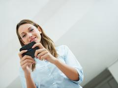 woman reading emails - stock photo