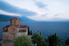 orthodox church at ohrid lake - stock photo