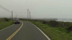 Police Highway Patrol cars foggy coastal rural road HD 073 Stock Footage
