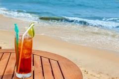 americano cocktail with ice on the table - stock photo