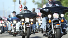 Harley Davidson Motorcycle Bikers Parade Ride Down the Road in America - stock footage