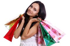 Stock Photo of beautiful woman with shopping bags