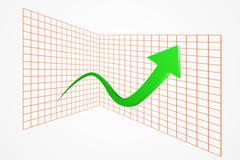 Green rising arrow front of grid. Stock Illustration