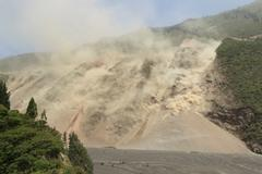 Natural Disaster Landslide In Ecuadorian Andes Earthquake Effects In Tungurahua - stock photo