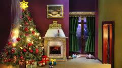 Burning christmas tree (slightly speedup) Stock Footage