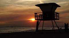 Life Guard Tower Time Lapse Stock Footage