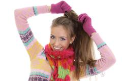 Stock Photo of portrait of a beautiful happy woman in a knitted jacket