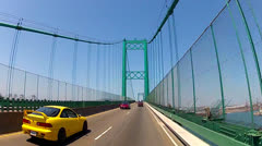 POV Crossing The Vincent Thomas Bridge- Port Of Los Angeles Stock Footage