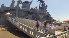Tourists Climbing Ramp To Destroyer USS Iowa Naval Monument- San Pedro CA Stock Footage