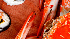 Rolls with live crab Stock Footage