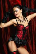 sexy moulin rouge girl wearing hot lingerie - stock photo