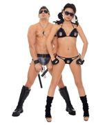 Two dancers dressed as police Stock Photos