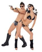two dancers dressed as police - stock photo