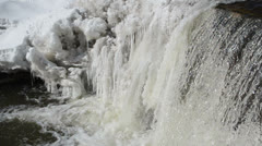Frozen winter river waterfall water closeup murmur sound Stock Footage