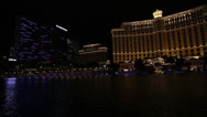 Stock Video Footage of The Bellagio and the Cosmopolitan at Night, Las Vegas
