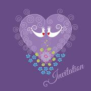 Purple invitation with two love birds and heart Stock Illustration